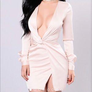 Satin v neckline front slit Dress